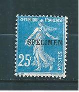 France Type Semeuse 25ct  Bleu  N°140 (surchargé Spécimen)   Neuf * Cote 24€50 - Cours D'Instruction