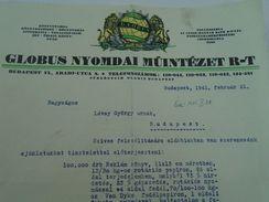 AD035.18 Old Invoice Hungary - GLOBUS Nyomda Printing House  1941 - Facturas & Documentos Mercantiles