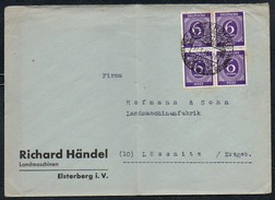 3330 - Beleg Brief - Bedarfpost - SBZ Viererblock - Gel 1946 - Richard Händel Landmaschinen Elsterberg - Sowjetische Zone (SBZ)