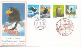Le Pygargue Empereur Et Faune De L'île Hokkaido, Lettre FDC Du Japon - Eagles & Birds Of Prey