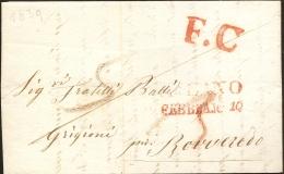Italy 1839 Full Letter From Milano Franco To Roveredo  : Red F.C Marking - 1. ...-1850 Vorphilatelie