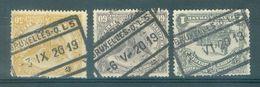 """BELGIE - TR 65 + 67 + 71 - Cachet   """"BRUXELLES - Q.L. 5"""" - (ref. 14.687) - 1915-1921"""
