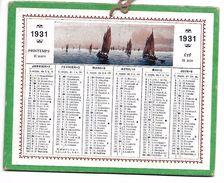 CALENDRIER Cartonné De 1931  - Format 12.7 X 10 Cm - Petit Format : 1921-40