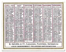 CALENDRIER 1929 - Format 9 X 7 Cm - Calendars
