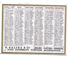 CALENDRIER 1938 - Format 9 X 7 Cm - Calendars