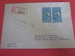 Porsgrunn Norge Norvège-1958 Lettre Document Letter Registered Recommandé Stamp Timbre By Air Mail Par Avion Paris FR - Norway