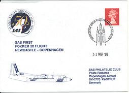 Great Britain Cover First SAS Fokker 50 Flight Newcastle - Copenhagen 31-3-1996 - 1952-.... (Elizabeth II)