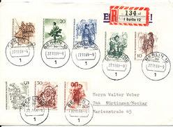 Germany Berlin Registered Cover Sent To Nürtingen 27-11-1969 With Complete Set Of 8 Stamps - Blocks & Sheetlets