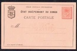 1888  Carte Postale Palmier Et étoile 15 C.  Non Utilisée - Belgisch-Kongo