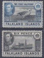 FALKLAND ISLANDS - 1949 King George VI - Birds, Ships. Scott 101-102. Mint - Falklandeilanden