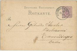 STEMPEL: Neubreisach.( Neuf-Brisach - France ). - Stamped Stationery 1879 - Germany