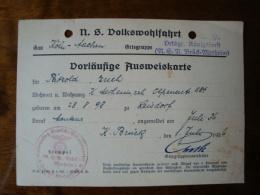 Vorläufige Ausweiskarte N.S. Volkswohlfahrt, Ortsgr. Königsforst N.S.B. Brück-Merheim, Von 1936 - Dokumente