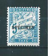 France Timbre Taxe  N°28  5ct Bleu  (surchargé Spécimen)   Neuf * - Lehrkurse