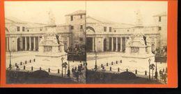Genova Veduta Generale Piazza Acquaverde Degoix Fotografo Photographie Stéréoscopique Photo Stéréo XIXe Collée Sur Carto - Stereoscopic
