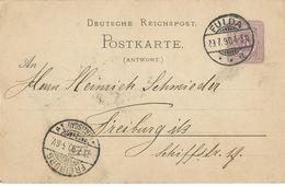 STEMPEL: Fulda And ( Friburg Im Brisgau ). - Stamped Stationery 1890 - Entiers Postaux