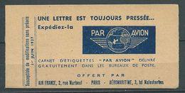 "FRANCE 1937 . Carnet De 10 Étiquettes  AIR FRANCE.""  Par Avion ""  Neufs ** (MNH) - Luchtvaart"