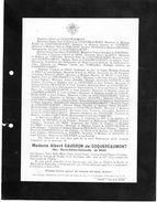 Faire-part De Décès - Madame Albert Caudron De Coquereaumont(née Marie-édithe-antoinette De Bray Décédée Au Château - Obituary Notices