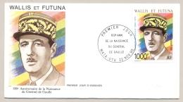 Wallis Et Futuna - 1990 - 1000 F General De Gaulle On FDC - Not Sent - FDC