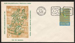 A) 1966 MEXICO, SPORTS, OLYMPIC GAMES, ATHLETICS, FIGHT, RUNNER, AIRMAIL, PRE-OLYMPICS SERIE OF 4, FDC. - Mexico