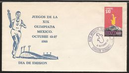 A) 1968 MEXICO, SPORTS, OLYMPIC TORCH ROUTE, VERACRUZ, D.F, STADIUM, SET OF 2, FDC. - Messico
