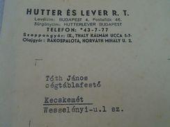 AD036.11 Old Invoice Hungary - Hutter és Lever RT Budapest Soap Factory -David Grünfeld Kecskemét Judaica 1936 - Facturas & Documentos Mercantiles