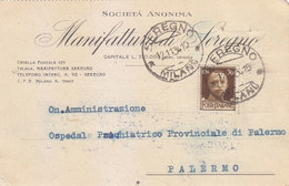 01 - Manifattura Di Seregno / Palermo Isolato 30 Centesimi - 1934 - Storia Postale