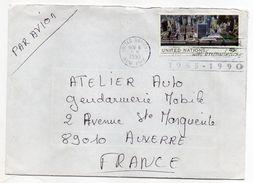 Nations Unies--1990--Lettre De New-York Pour Auxerre (France)--timbre Vue Aérienne De N-Y Seul Sur Lettre - New York -  VN Hauptquartier