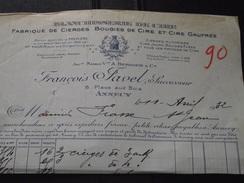 ANNECY (Haute-Savoie) - Facture - F. TAVEL - Cierges - Bougies- Vers St-JEAN-de-MAURIENNE (Savoie) - 11 Avril 1932 - Drogisterij & Parfum