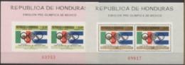Blocs Du Honduras, Jeux Olympique De Mexico1968, 2 Blocs Feuillet  D + ND, Perf + Imperf ** - MNH Départ à 50 % - Sommer 1968: Mexico