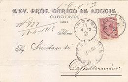 04 - Avv Prof Enrico La Loggia - Commerciale Affr Leoni 10 Cents Isolato - Girgenti - Storia Postale