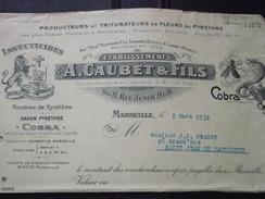 13 MARSEILLE - Facture - A. CAUBET & FILS - Insecticides - Pyrèthre - Vers St-JEAN-de-MAURIENNE (Savoie) - 2 Mars 1932 - Chemist's (drugstore) & Perfumery