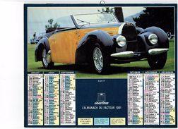 Grand Calendrier Almanach P.T.T. Facteur - 1991 - VOITURE GROS PLAN Bugatti 57 // Cadillac 355 Phacton 1931 - Calendriers