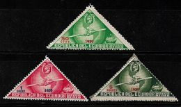 Ecuador Triangle Airmail Airplane Globe 3 Value Odd Shaped Unused Stamp # AR:148 - Ecuador