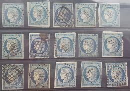 CERES 25c Bleu  YT N°4 /  Lot De 15 Exemplaires , Oblitération Grille+ Losange PC / Côte 900€ - 1849-1850 Ceres
