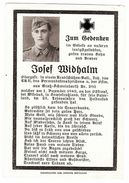 Sterbebild Josef Widhalm Obergefreiter Kradschützenbataillon EK II 1943 Sowjetrußland ( 001203 ) - Militaria