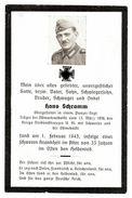 Sterbebild Hans Schramm Obergefreiter Panzer Regt. 1943 Ostmarkmedaille Kvkreuz  ( 001204 ) - Militaria