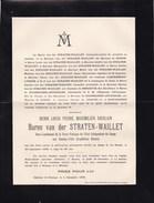 CONGO Henri Baron Van Der STRATEN-WAILLET Sous-lieutenant Force Publique Etat Indépendant EXPEDITION DHANIS  26 Ans 1896 - Avvisi Di Necrologio