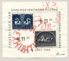 Nederland - 1945 - 1 En 2 Cent Germaanse Symbolen Op Velletje Oorlogstentoonstelling Oud Illegaal Strijders - Brieven En Documenten