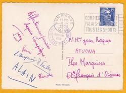 1953 - Marianne De Gandon 15 F Bleue Sur CP  Compiègne Vers Atuona, îles Marquises, Océanie - Covers & Documents