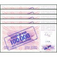 TWN - BOSNIA-HERZEGOVINA 34a - 100000 100.000 Dinara 1.9.1993 DEALERS LOT X 5 - Various Prefixes UNC - Bosnia Y Herzegovina