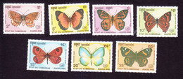 Cambodia, Scott #1064-1070, Mint Hinged, Butterflies, Issued 1990 - Cambodia