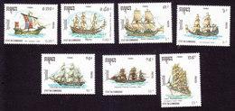 Cambodia, Scott #1080-1086, Mint Hinged, Ships, Issued 1990 - Cambodge