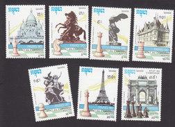Cambodia, Scott #1091-1097, Mint Hinged, Chess, Issued 1990 - Cambodge