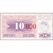 TWN - BOSNIA-HERZEGOVINA 53h - 10.000 Dinara 1993 (1992) Handstamp Date 24.12.1993 - SARAJEVO - Tall Red Zeroes UNC - Bosnia And Herzegovina