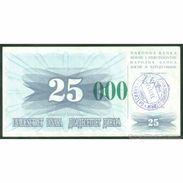 TWN - BOSNIA-HERZEGOVINA 54g - 25.000 Dinara 1993 (1992) Handstamp Date 24.12.1993 - SARAJEVO - Tall Green Zeroes AU - Bosnia Erzegovina