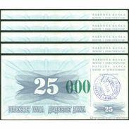 TWN - BOSNIA-HERZEGOVINA 54g - 25.000 Dinara 1993 (1992) DEALERS LOT X 5 - SARAJEVO - Tall Green Zeroes AU - Bosnia Erzegovina