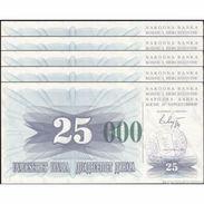 TWN - BOSNIA-HERZEGOVINA 54g - 25.000 Dinara 1993 (1992) DEALERS LOT X 5 - SARAJEVO - Tall Green Zeroes UNC - Bosnia Erzegovina