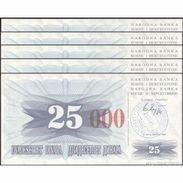 TWN - BOSNIA-HERZEGOVINA 54h - 25.000 Dinara 1993 (1992) DEALERS LOT X 5 - SARAJEVO - Tall Red Zeroes UNC - Bosnia Erzegovina