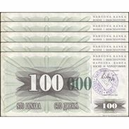 TWN - BOSNIA-HERZEGOVINA 56i - 100.000 Dinara 1993 (1992) DEALERS LOT X 5 - SARAJEVO - Tall Green Zeroes VF - Bosnia Erzegovina