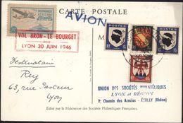 Carte Journée Du Timbre Lyon 1946 YT 754 Vignette Propagande Aérienne Vol Bron Le Bourget CP Fouquet De La Varane - Marcofilia (sobres)